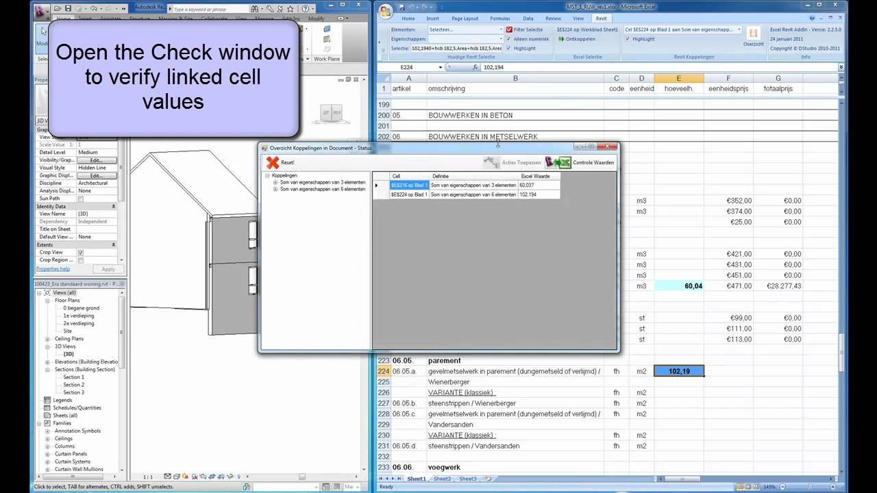 Dynamic Link between AutoCAD Revit and Excel - Revit update (under dev )