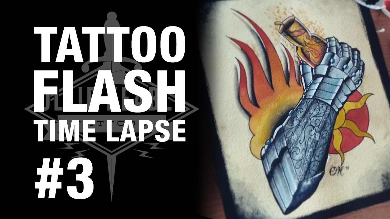 How to paint tattoo flash | Tattoo Flash Time lapse #3