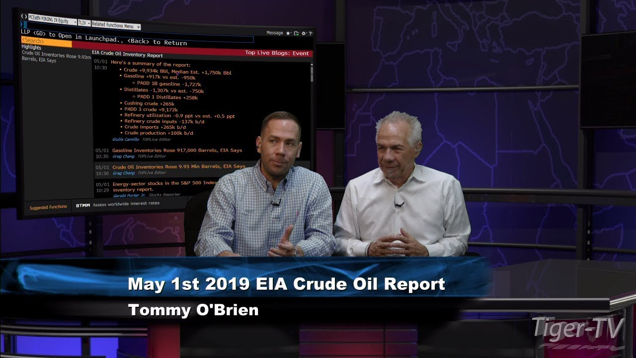 Crude Oil EIA Report Analysis with Tom & Tommy O'Brien - May 1st, 2019