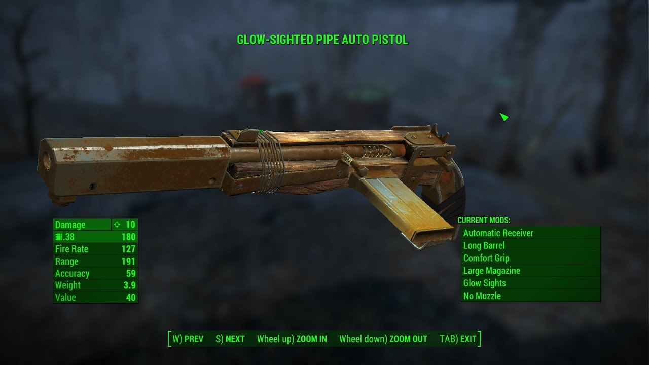 fallout 76 handmade gun fallout 4 weapons glow sighted pipe auto pistol custom 9626