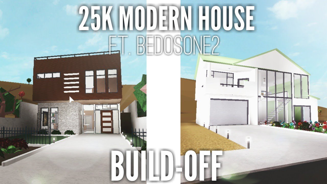 25k Modern House Build Off Bloxburg Roblox Ft Bedosone2