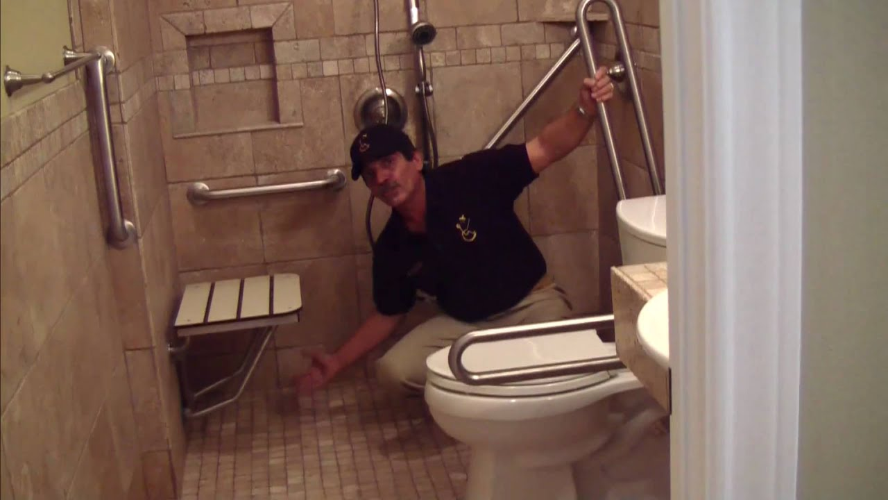 Handicap bathroom remodeling youtube Handicapped wheelchair