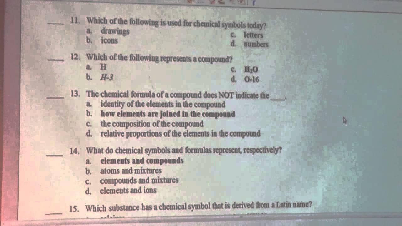 Taft Chemistry Chapter 2 Test SG