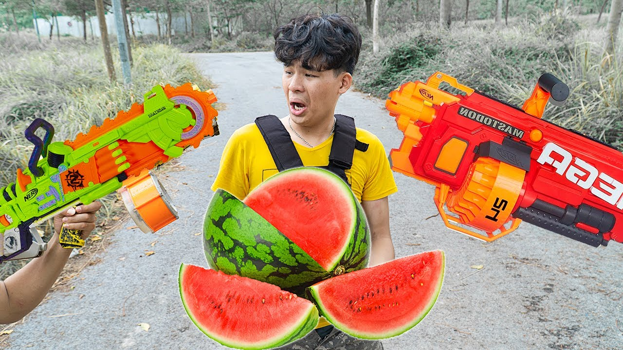 Battle Nerf War: Two Brothers & Red Police Nerf Guns Fight Robbers Group WATERMELON FUNNY BATTLE