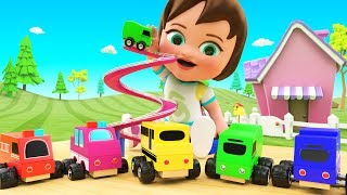 Learn Colors for Children with Little Baby Fun Play Toy Street Vehicles Slider ToySet 3D Kids Edu