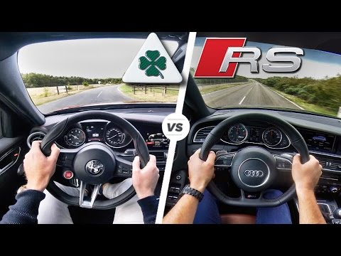 Alfa Romeo Giulia Quadrifoglio vs Audi RS4 POV Test Drive Acceleration & Sound by AutoTopNL