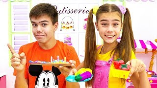 Nastya and Artem play inedible food