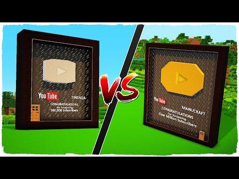 💣 Casa de BOTÓN DE PLATA vs casa de BOTÓN DE ORO de YOUTUBE - MINECRAFT