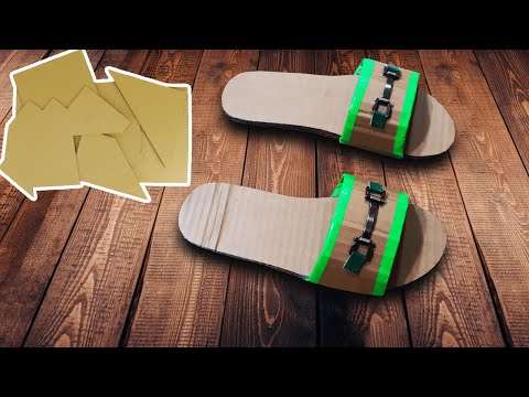 How To Make Slippers From Cardboard At Home -  Best Out Of Waste Crafts ideas