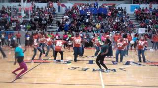 Pep rally. 9.30 Teachers Dancing
