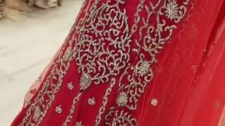Red Bridal Trail Jacket Style Anarkali
