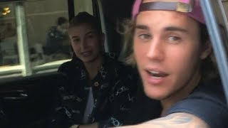 Clean-shaven Justin Bieber & Hailey Baldwin taking pictures with fans in New York City - July 5 2018