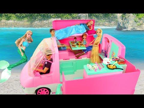 Pink Motor Home Caravan for Barbie Dolls Karavan boneka Barbie Caravana de bonecas