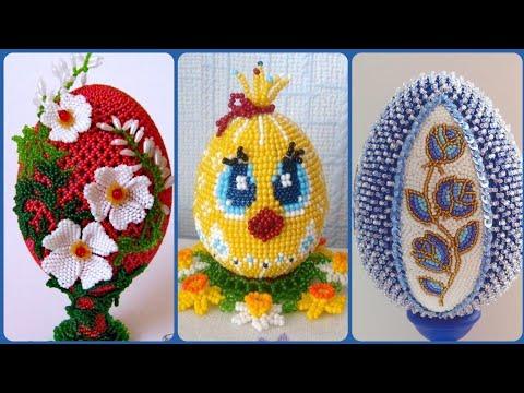 Beautiful beaded egg craft decoration ideas