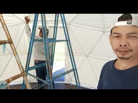 Pemasangan tenda geodesik kubah glamour