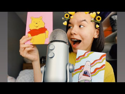 ASMR showing you my art:)🖼🦋 (TAPPING, SCRATCHING,SHORT NAILS)