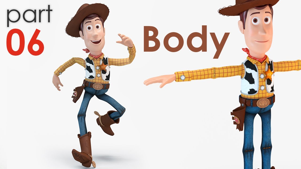 3D Modeling Sheriff Woody from TOY STORY part 06 Shimmy ...