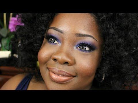 Electric Blue/Purple Smokey Eye *Inspired* Dark Skin - YouTube