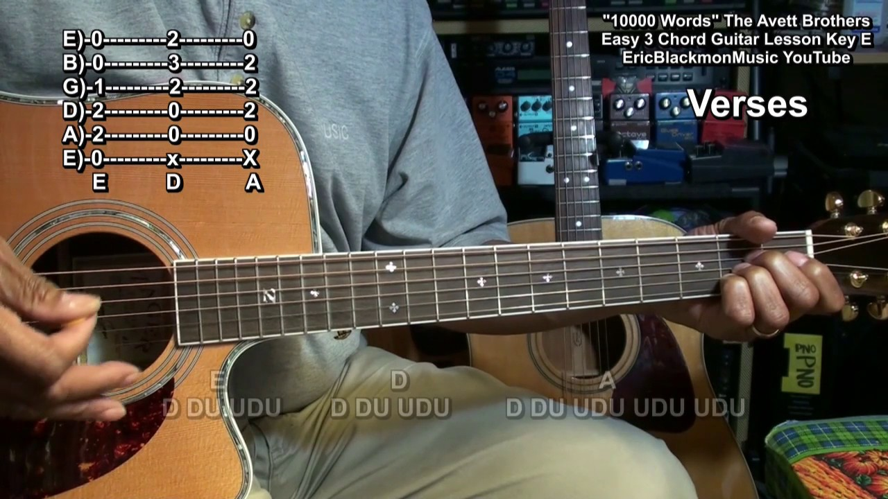 how to play 10,000 words the avett brothers on guitar no capo 3
