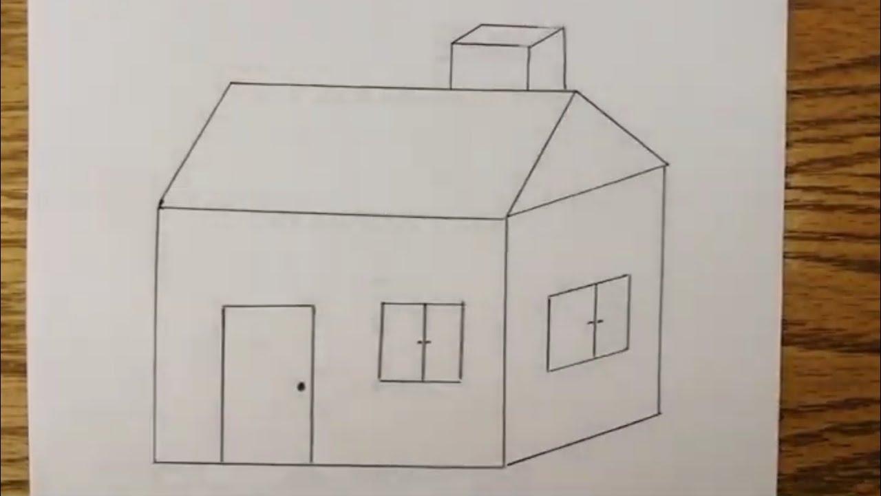 رسم بيت شعبي قديم سهل