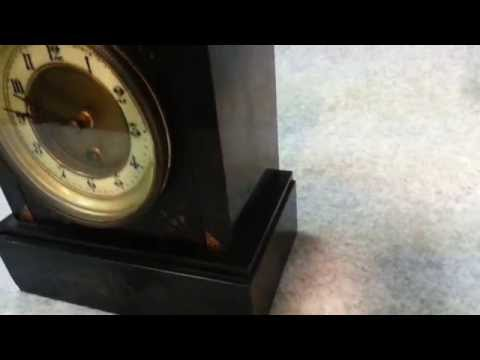 Antique French Victorian Black Marble Slate and Onyx Mantel Clock