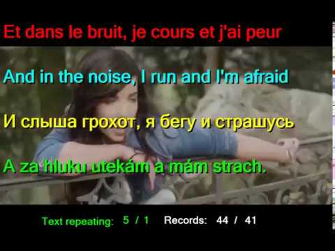 Learn languages by Indila Last dance Dernière Danse English French Russian Slovak LYRICS SUBTITLES