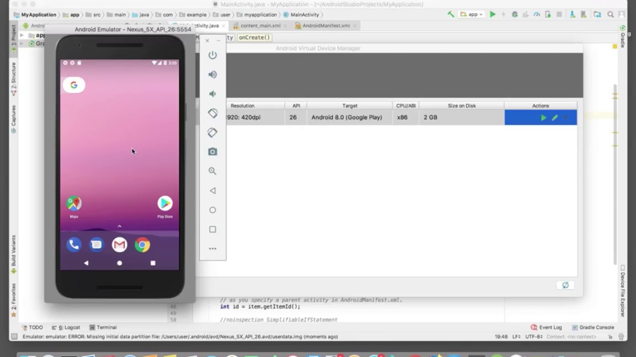 How to Create Virtual Device AVD Emulator in Android Studio 3 and Run App  2019