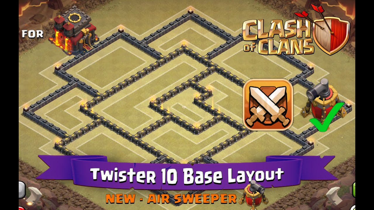 Clash of clans th10 best clan war base layout with air sweeper