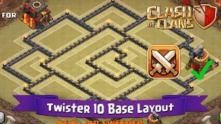 Clash Of Clans: TH10 | BEST Clan War Base Layout (with Air Sweeper) - Twister 10