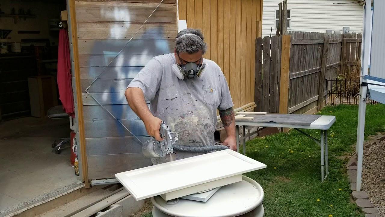 Spraying Enduro White Poly On Kitchen Cabinet Doors