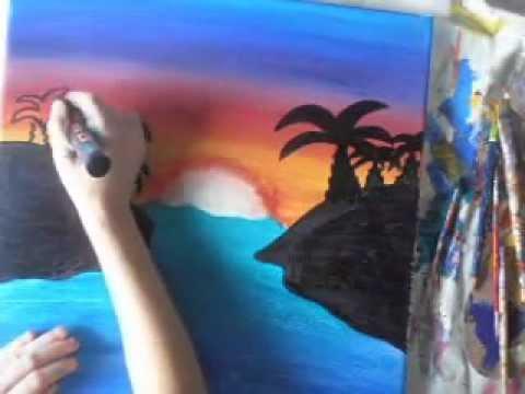 Comment Peindre Un Simple Coucher De Soleil  Youtube
