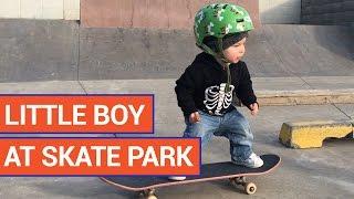 Amazing Little Boy Rides Skateboard At Skate Park Video 2016  YT
