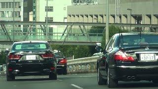 総理車列、こっちに一瞬怯むも仕方なく追い抜き首都高へ! thumbnail