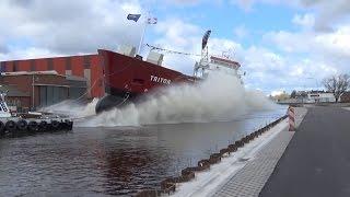 TRITON Stapellauf / Ship Launch / Tewaterlating Bodewes Shipyard 17-Apr-2015