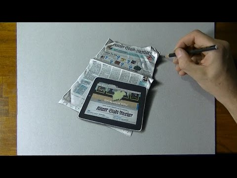 Drawing Time Lapse: a tablet placed on a German newspaper – hyperrealistic art