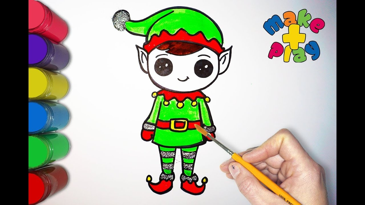 How To Draw Easy Elf On The Shelf | Glitter Coloring And ...