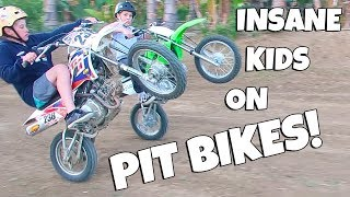 INSANE KIDS ON PIT BIKES