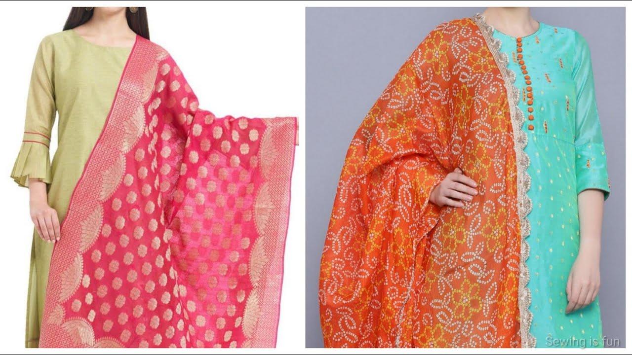 Contrast dupatta with pastel kurti design,pista colour kurti with dupatta set,green combination suit