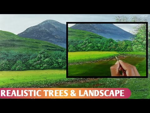 How to paint Landscape, Reflection water , TREE'S painting step by step for beginners on canvas