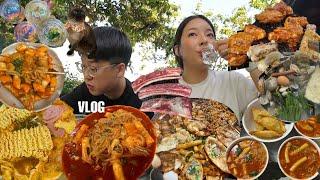 [비지편]소소한🦥 먹방브이로그(떡볶이 네번, 김치전, 비지찌개, 훈제오리 월남쌈, 닭갈비, 춘천여행,벼리) KOREAN FOOD MUKBANG VLOG