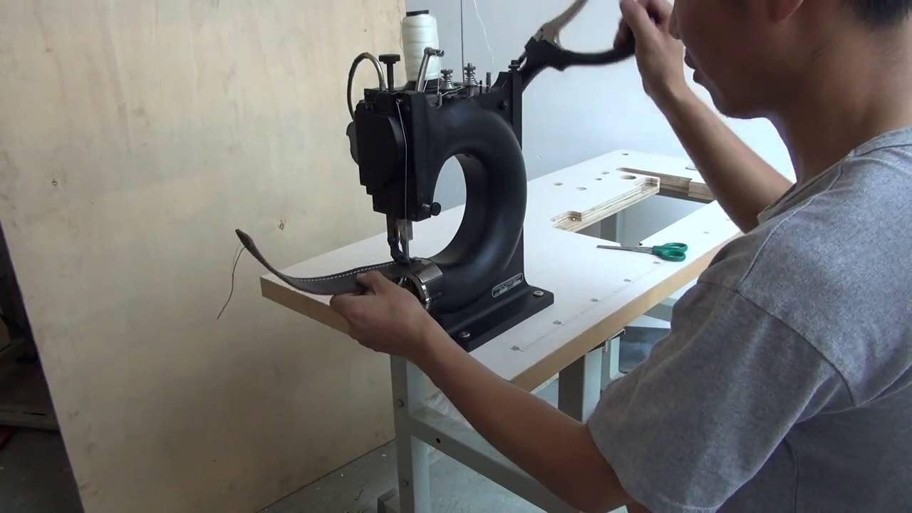 Máquina de coser cuero manual - YouTube