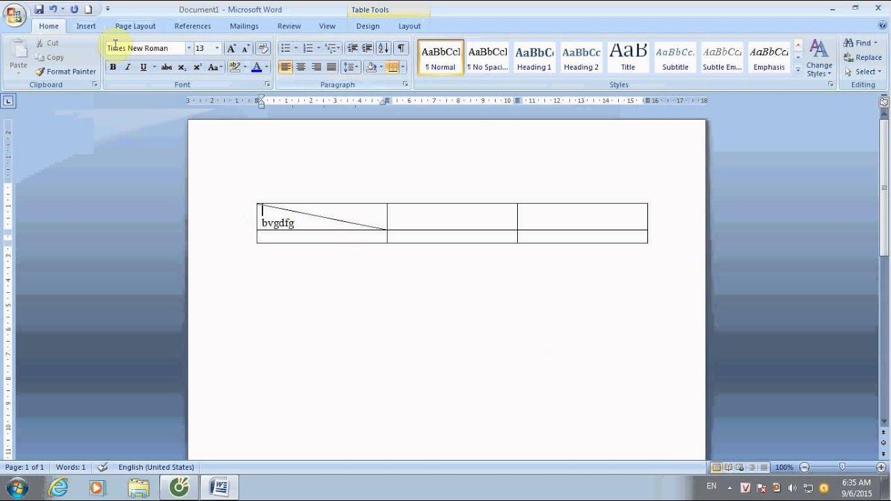 cách tạo đường kẻ chéo trong Word 2007