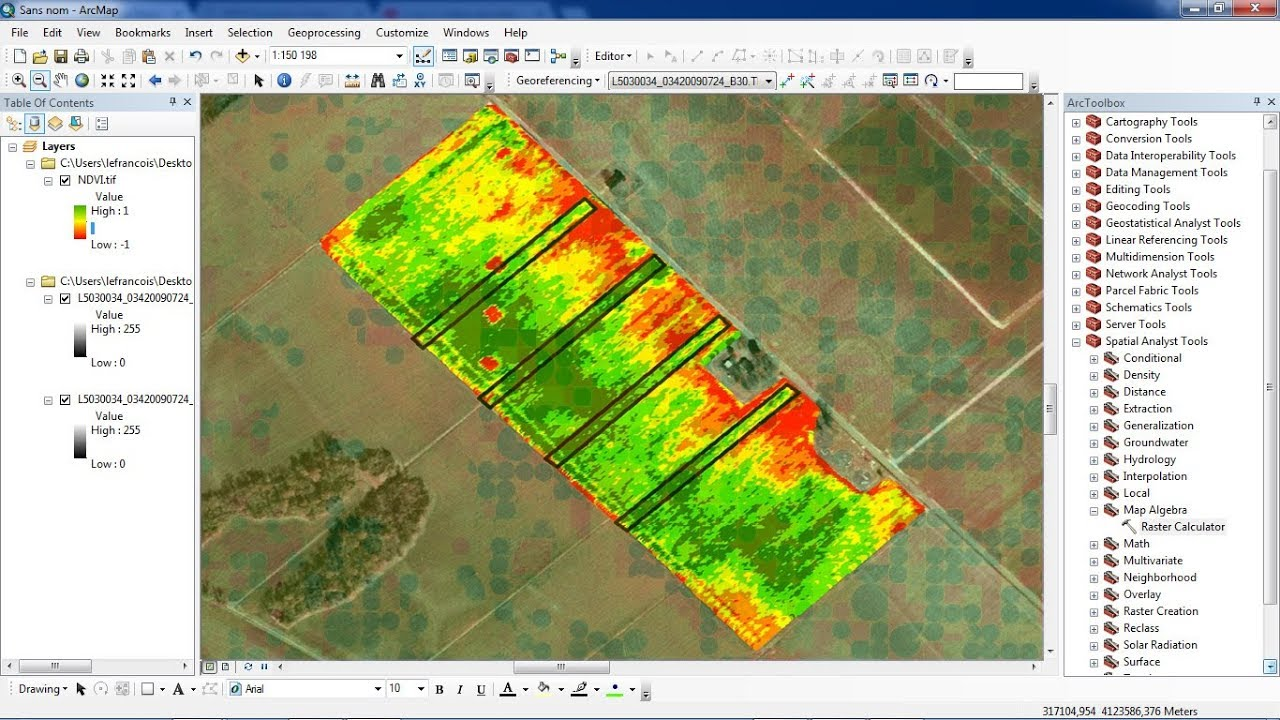 how to calculate NDVI using ArcGis
