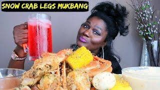 SNOW CRAB LEGS  SEAFOOD BOIL MUKBANG WITH ALFREDO AND QUTTIE QUE SAUCE