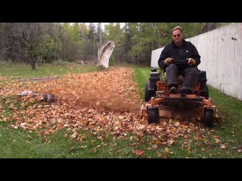 Mulching leaves in a yard for the last time this season