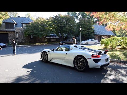 918 spyder white. white porsche 918 spyder startup revs acceleration driving sounds s