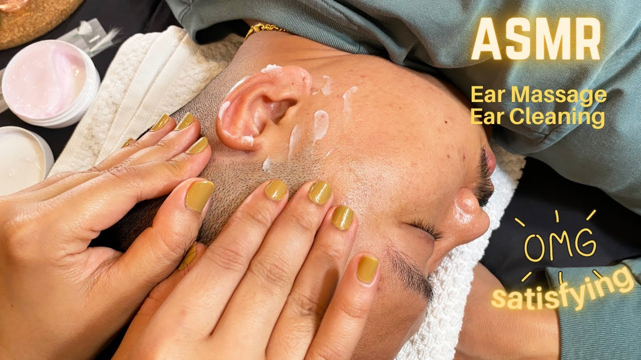 ASMR Ear Massagewith Lotion and whispering/ Ear cleaning with mika