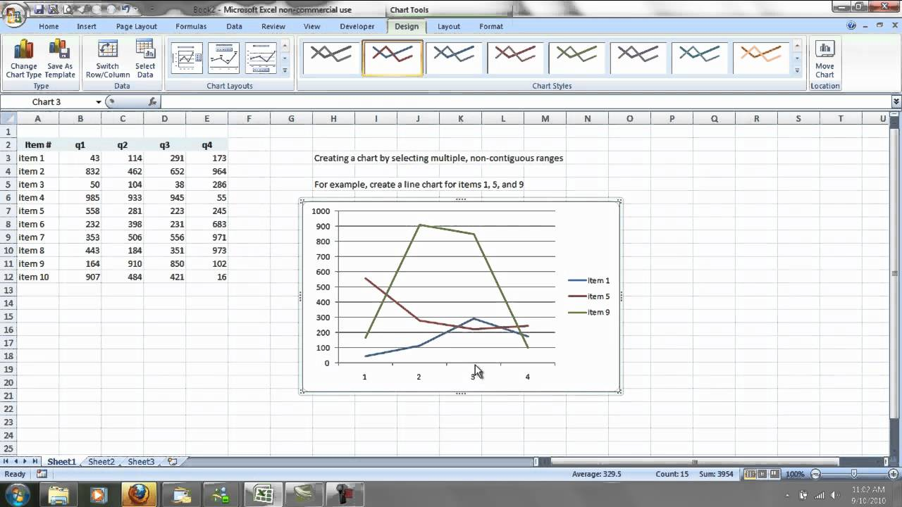 Excel non contiguous chart also youtube rh