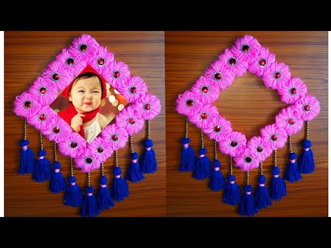 EASY WOOLEN WALL HANGING/BEST OUT OF WASTE AND WOOL CRAFT IDEA/TORAN/WOOLEN PHOTO FRAME HANGING