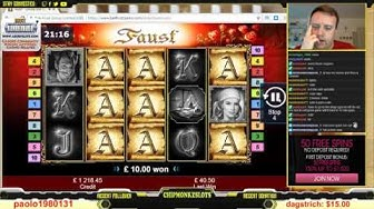 BIG WIN!!!! FAUST HUGE WIN from LIVE STREAM Bell Fruit Casino